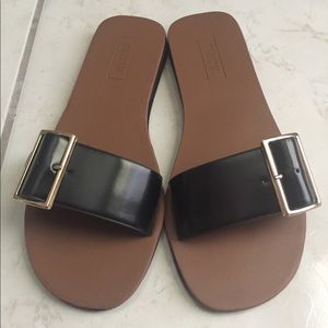 F21 Black Faux Leather Sandals